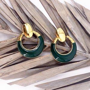 Green Gold Tone Vintage Hoop Circle Stud Earrings